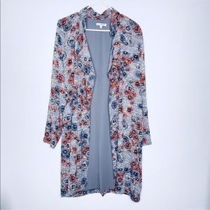 Lily Black Boho Floral Duster Cardigan Jacket